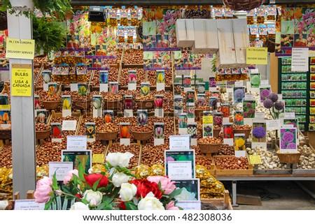 Amsterdam, the Netherlands - October 03, 2015: Flower seeds shop in the city center