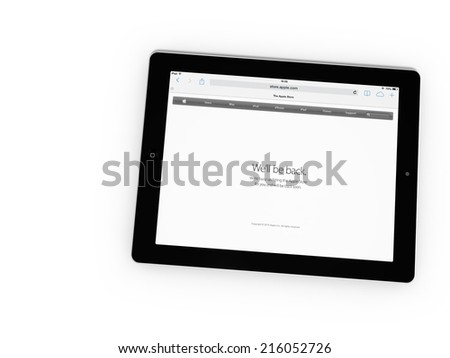 AMSTERDAM, THE NETHERLANDS, 9 SEPTEMBER 2014 - Website of Apple, Inc. preparing for the special introductory event of new iPhones, iPads and the iWatch. - stock photo