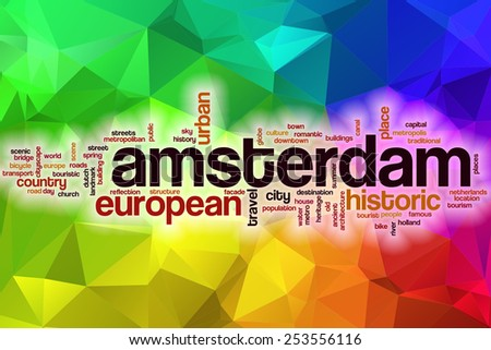 Amsterdam word cloud concept with abstract background - stock photo