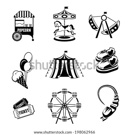 Amusement entertainment park black and white  icons set isolated  illustration