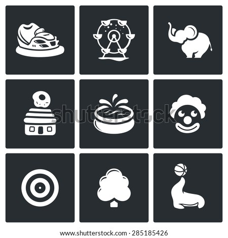 Amusement Isolated Flat Icons collection on a black background for design - stock photo