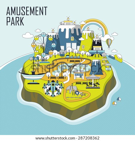 amusement park elements on an island in line style - stock photo