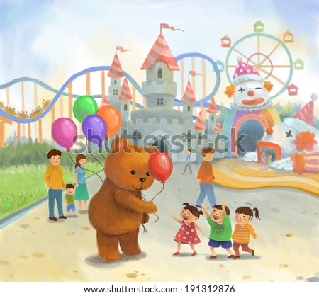 Amusement park for children in summer holiday in pastel color on canvas style  - stock photo