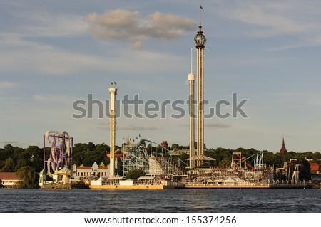 Amusement park Grona Lund, Stockholm, Sweden - stock photo