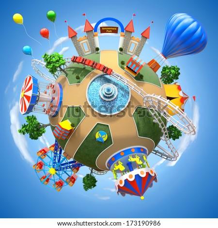 Amusement park planet - stock photo