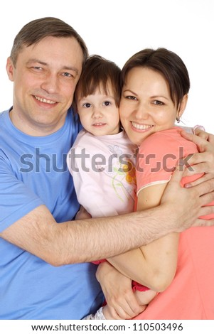 Amusing family having fun in bright T-shirt on a white background