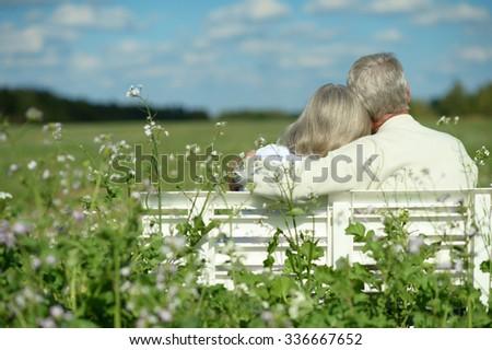 Amusing senior couple sitting on bench in park - stock photo