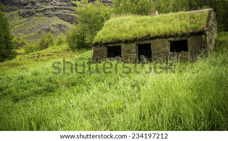 An abandoned house with a sod roof in Iceland - stock photo