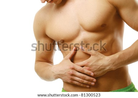 An abdominal pain isolated on white background - stock photo