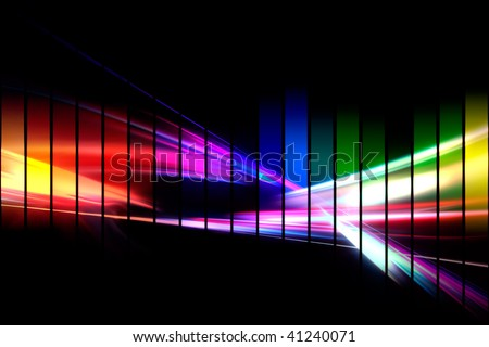 An abstract audio waveform illustrations in a rainbow color scheme isolated over black. - stock photo