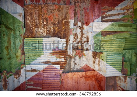 An abstract background image of the flag of Burundi painted on to rusty corrugated iron sheets overlapping to form a wall or fence. - stock photo