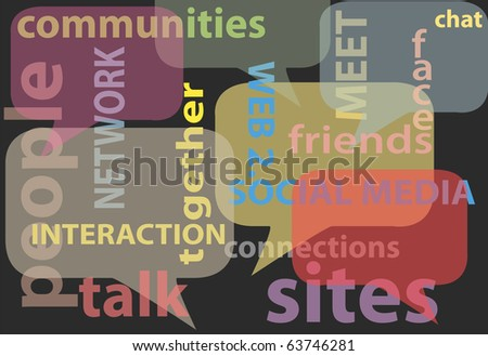 An abstract background of social media network words bubbles - stock photo