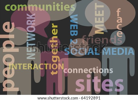 An abstract background of stick figure people and social media network words bubbles - stock photo
