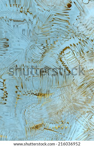 An abstract background with a pattern of blurred yellow  lines, curves, spots and figures against aquamarine background. Can be used as a wallpaper.