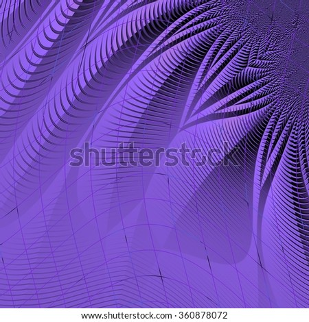 An abstract background with violet fractal flower pattern and distorted grid - stock photo