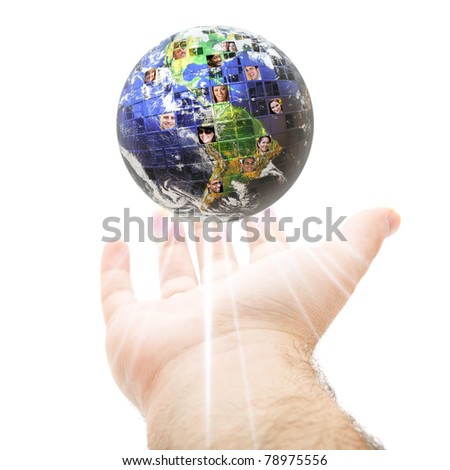 An abstract conceptual montage of a hand holding up the earth filled with people of all different races nationalities and background.  Great for social media and communications concepts. - stock photo