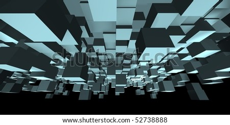 An abstract cube design - a 3d image - stock photo