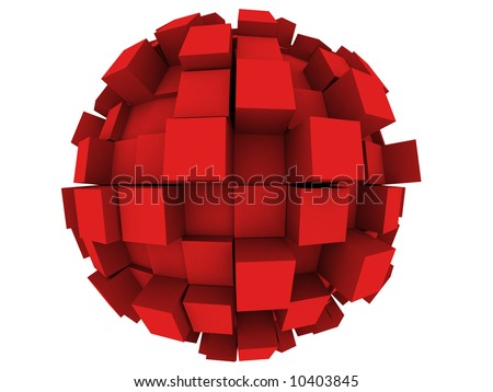 An abstract 3d sphere with cubes growing out of it. - stock photo