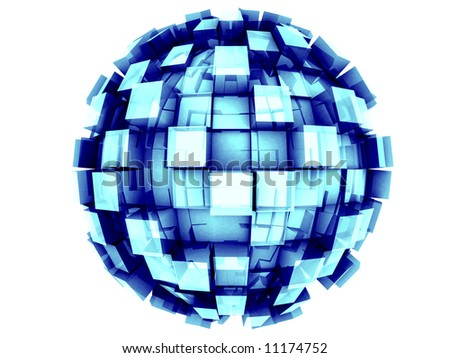 An abstract 3d sphere with cubes growing out of it.