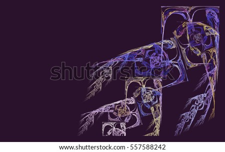 an abstract fractal and a colorful branch