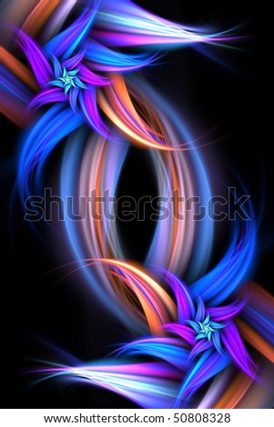 An abstract fractal flower design isolated over a black background. - stock photo