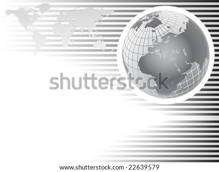 An abstract grey background with a wire mesh globe on a rey stripes base with room for text