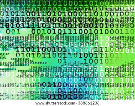 An abstract grunge background of binary code data stream in shades of blue and green - stock photo