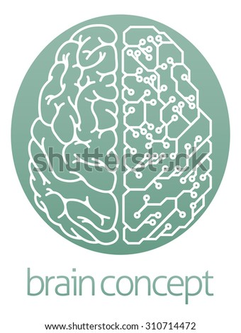 An abstract illustration of a brain half electrical circuit board circle concept design - stock photo