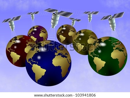 an abstract illustration of earth globes communicating through satellites / satellite technology
