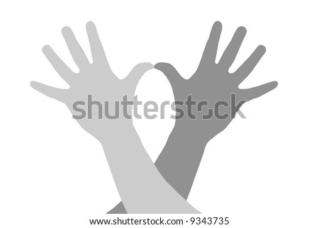 An abstract illustration. Silhouettes of hands of happy people. The light grey image on a white background.