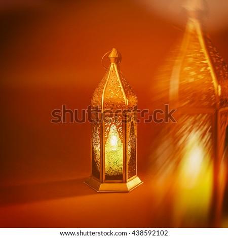 An abstract image of decorative Ramadan lantern.'Ramadan Kareem'. Greeting card cover. - stock photo