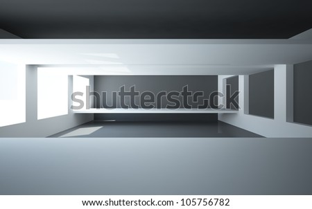 An abstract interior with two bridges hovering in the air