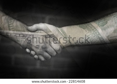 An abstract money montage featuring a successful business sale deal or bailout. - stock photo