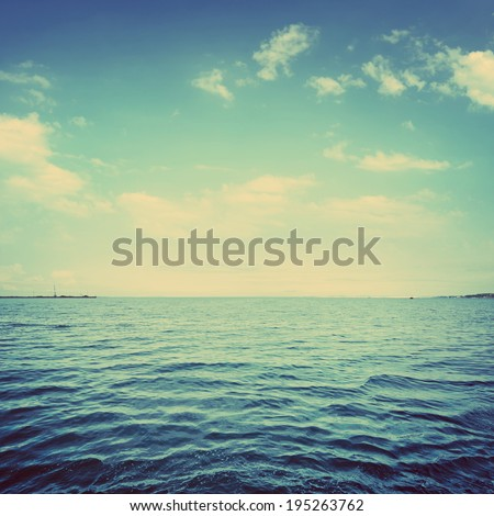 An abstract ocean seascape. Picture in retro style. - stock photo