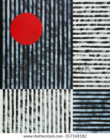an abstract painting, black and white stripes with a red disc - stock photo
