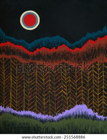 an abstract painting, suggesting trees and a moon - stock photo