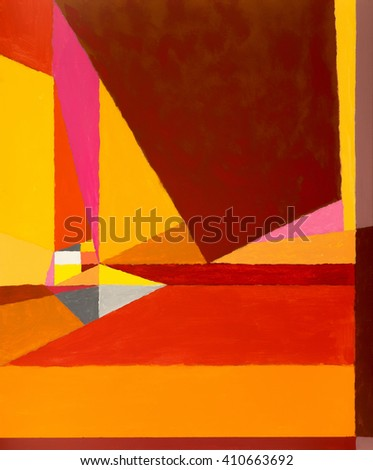 An abstract painting suggestive of sea and sails; warm colours - stock photo