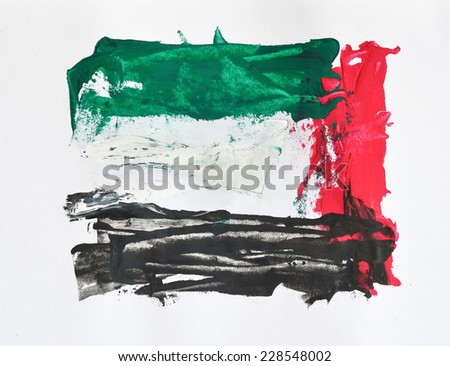 An abstract paintwork with UAE flag colors. - stock photo