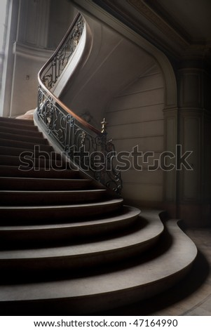 an abstract picture of a vintage stair - stock photo