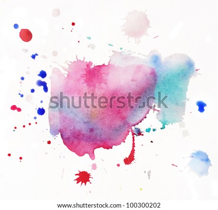 An abstract water-coloured painted blot - stock photo