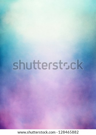 An abstraction of clouds and fog with a purple to green gradient.  Image displays a distinct paper texture and grain at 100%. - stock photo