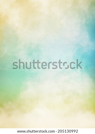 An abstraction of fog and clouds on a textured paper background.  Image displays significant paper grain and texture at 100 percent. - stock photo