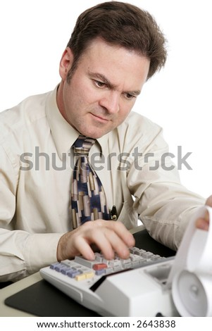 An accountant doing income taxes. Motion blur on his hand to show how fast he is working.  White background.
