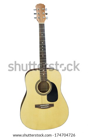 An acoustic guitar isolated on a white background. - stock photo