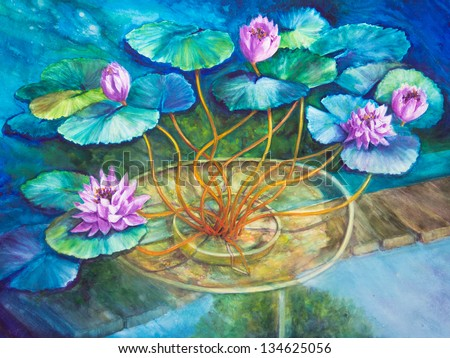An acrylic painting of Monet's water lily pond at Giverny is finished in blues and greens. - stock photo