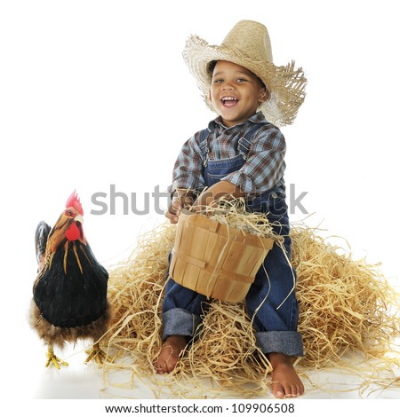 An adorable biracial farm boy holding a basketful of eggs while sitting on a hay stack, a rooster standing nearby.  On a white background.