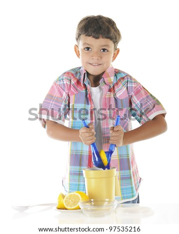 An adorable preschooler strains as he attempts to squeeze a lemon as he's making lemonade.  On a white background.