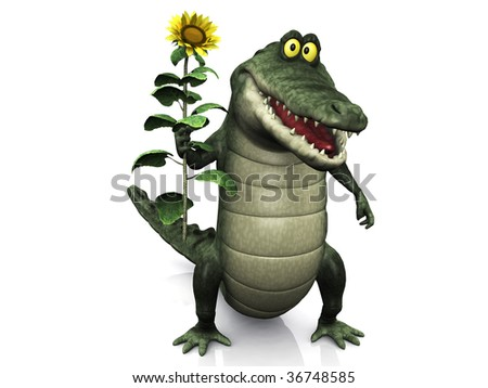 An adorable smiling friendly cartoon crocodile holding a big yellow sunflower in his hand. - stock photo