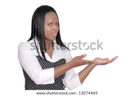 an adult African American woman holding something over white - stock photo