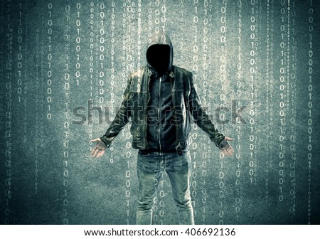 An adult online anonymous internet hacker with invisible face in urban environment and number codes illustration concept - stock photo